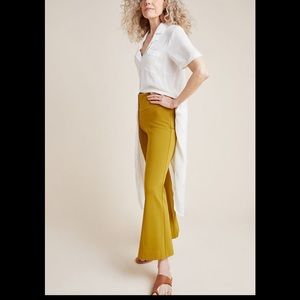 Anthropologie Ponte flare pant- chartreuse